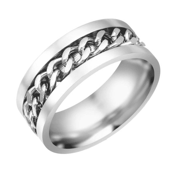 ROCKER SILVER – en häftig stålring med kedja  ddf99fec4804f